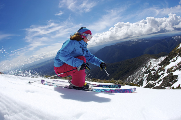 Nicole Lewis skiing on the roof of Australia